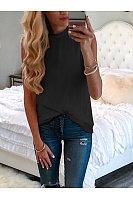 Casual Round Collar Sleeveless T-Shirt