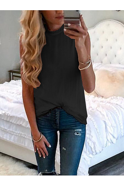 Casual Round Collar Sleeveless T-Shirt