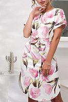 Round Neck  Asymmetric Hem  Belt  Floral Printed  Short Sleeve Casual Dresses