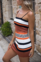 Spaghetti Strap  Striped  Sleeveless Bodycon Dresses