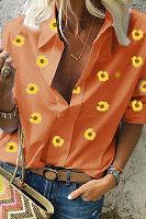 A Lapel Long Sleeve Daisy Blouse