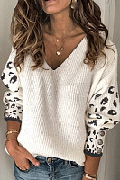 V Neck Leopard Casual Sweater