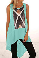 Round Neck  Asymmetric Hem  Printed Camis