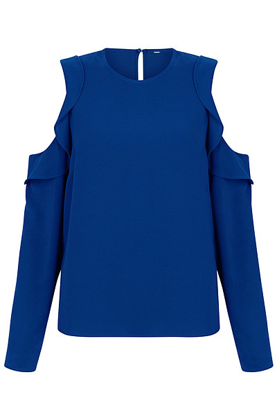 Open Shoulder Flounce Plain Long Sleeve T-Shirt
