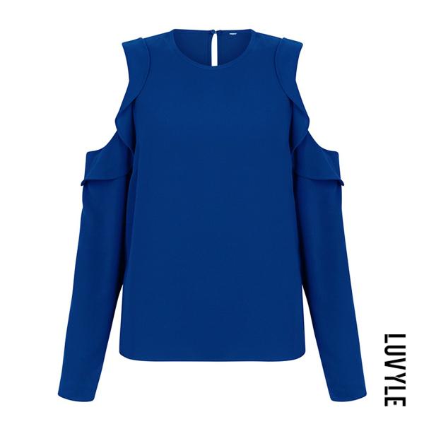 Blue Open Shoulder Flounce Plain Long Sleeve T-Shirt Blue Open Shoulder Flounce Plain Long Sleeve T-Shirt