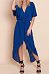 V Neck  Asymmetric Hem  Plain  Half Sleeve Maxi Dresses