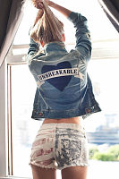 Heart Letters Embroidery Casual Denim Jacket