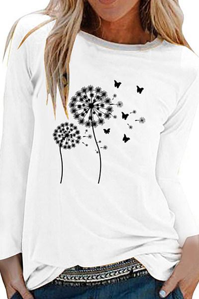 Round Neck Print Long Sleeve T-shirt