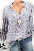 V Neck Long Sleeve Printed Casual Blouse