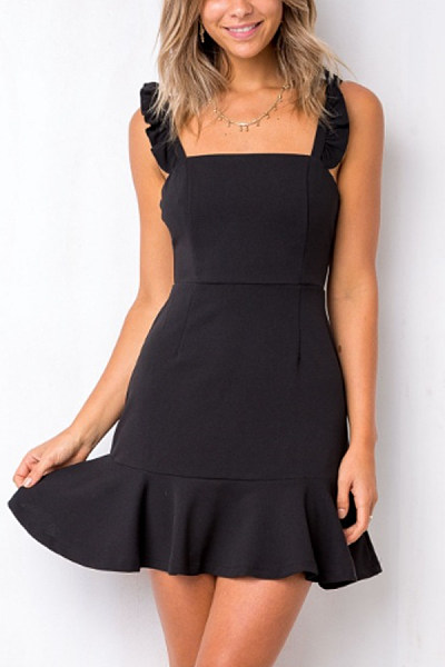 Spaghetti Strap  Asymmetric Hem  Plain  Sleeveless Casual Dresses