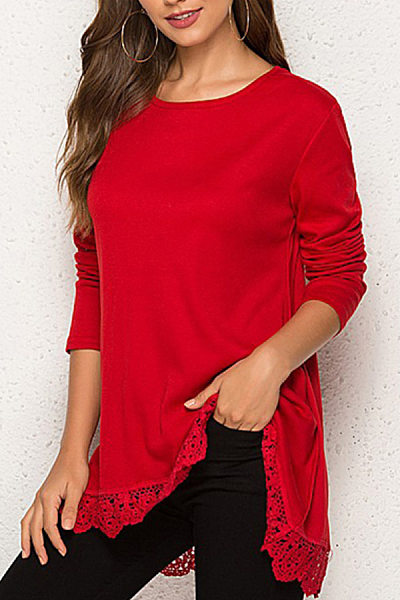 Women's casual round neck lace stitching solid color long-sleeved t-shirt