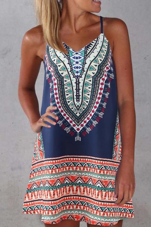 Hippie Vibes - Boho casual beach midi dress in tribal printed blue