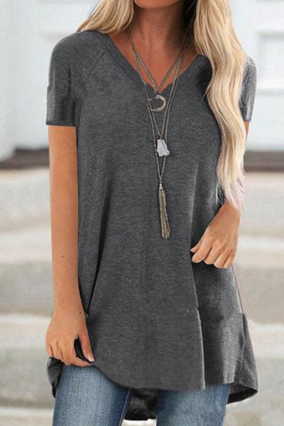V Neck Plain Short Sleeve T-shirt
