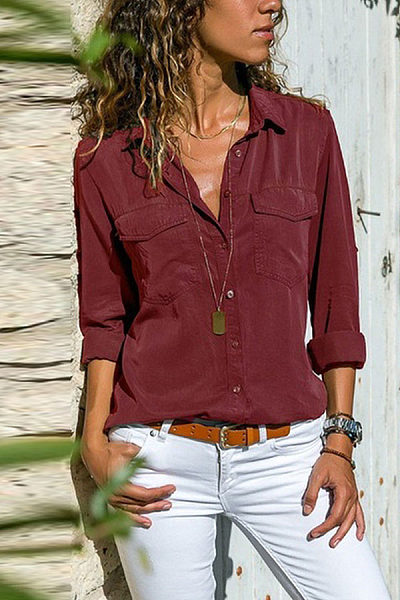 Casual Long Sleeve Plain Button Pocket Blouses