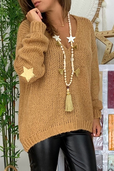 V Neck Loose-Fitting Plain Star Sweater