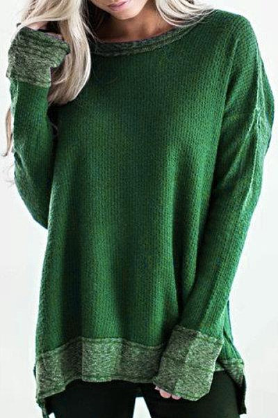 Round Neck Long Sleeve Casual T-shirt
