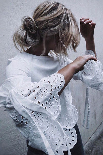 Round Neck  Hollow Out Plain  Bell Sleeve  Blouses
