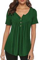 Round Neck Buttons Plain Short Sleeve T-shirt