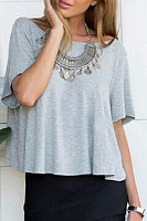 Boat Neck Backless Plain Half Sleeve T-shirt