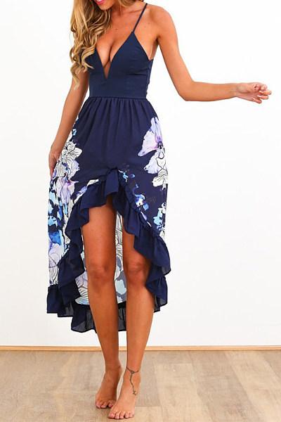 Flounce Print Maxi Dress