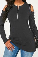 Open Shoulder  Asymmetric Hem  Plain T-Shirts