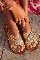 Plain  Flat  Peep Toe  Date Travel Flat Sandals