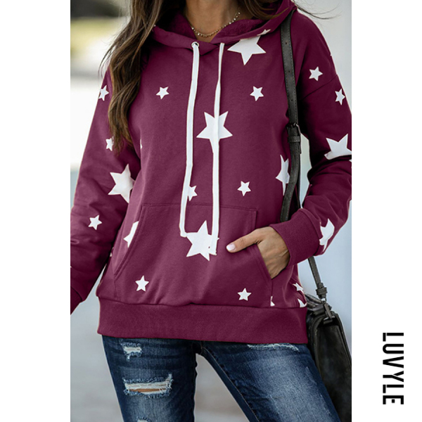 Purple Star Printed Long Sleeve Loose Hoody Purple Star Printed Long Sleeve Loose Hoody