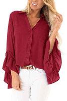 Irregular Long Sleeve Ruffle Sleeve Shirt