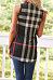 V Neck  Asymmetric Hem  Checkered T-Shirts
