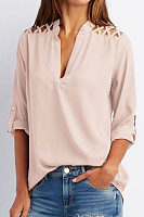 V Neck  Patchwork  Hollow Out Plain Shirts