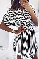 Deep V Neck  Striped  Short Sleeve Casual Dresses