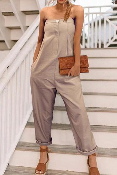 Strapless  Single Button  Plain  Sleeveless Jumpsuits
