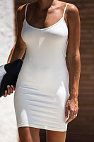 Spaghetti Strap  Plain  Short Sleeve Bodycon Dresses