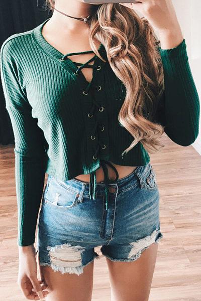 V Neck  Lace Up  Exposed Navel  Plain T-Shirts