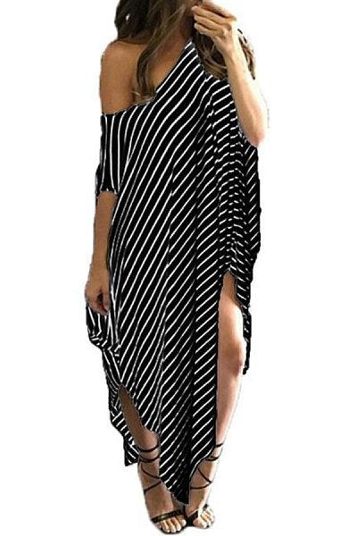 Round Neck  Slit  Striped  Short Sleeve Maxi Dresses