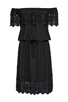 Off Shoulder Decorative Lace Flounce Plain Skater Dress