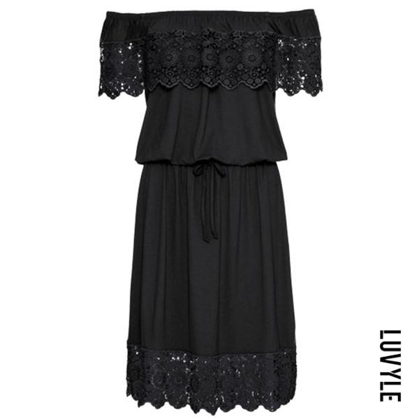 Black Off Shoulder Decorative Lace Flounce Plain Skater Dress Black Off Shoulder Decorative Lace Flounce Plain Skater Dress