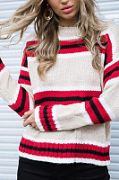 Round Neck  Striped  Elegant Sweaters