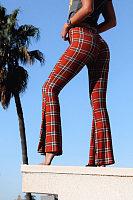 Slit  Gingham  Elegant  Pants