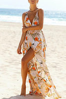 Spaghetti Strap  Backless  Floral Printed  Sleeveless Maxi Dresses