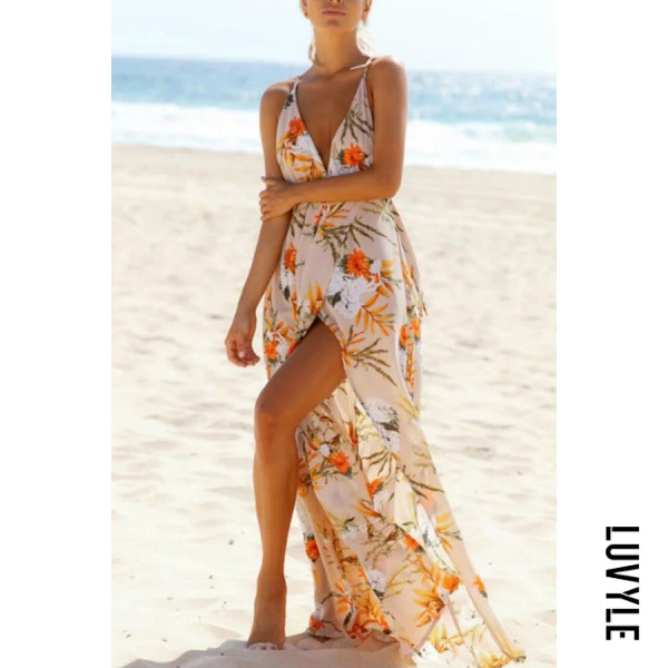 Beige Spaghetti Strap Backless Floral Printed Sleeveless Maxi Dresses Beige Spaghetti Strap Backless Floral Printed Sleeveless Maxi Dresses