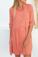 Turn Down Collar  Single Breasted  Plain  Half Sleeve Casual Dresses