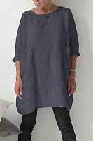 Round Neck Pockets Plain Casual Dress