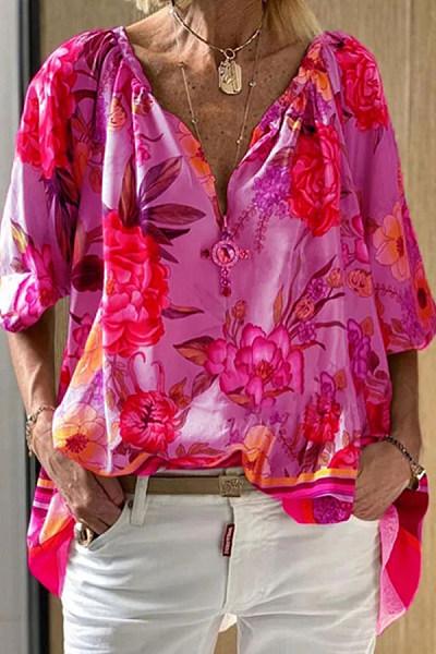 Casual V-neck Sleeve Print Shirt