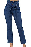 Plain  Denim  Basic  Jeans