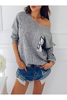 Sequin Stitching Bat Long Sleeve Sweater
