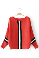 Round Neck  Patchwork  Batwing Sleeve T-Shirts