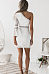One Shoulder  Hollow Out Plain  Bell Sleeve Bodycon Dresses