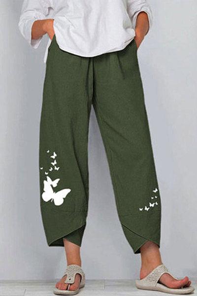 Butterfly Print Elasticated Waist Wide Leg Pants