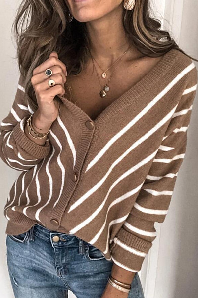 Casual V Neck Striped Single Breasted Sweater